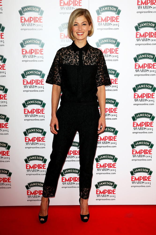 LONDON, ENGLAND - MARCH 30:  Rosamund Pike attends the Jameson Empire Awards 2014 at the Grosvenor House Hotel on March 30, 2