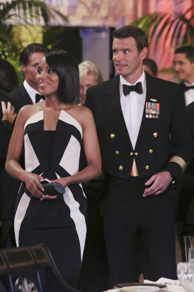 FILE - In this image released by ABC actress Kerry Washington wears a Rubin Singer gown, left, with Scott Foley in a scene fr