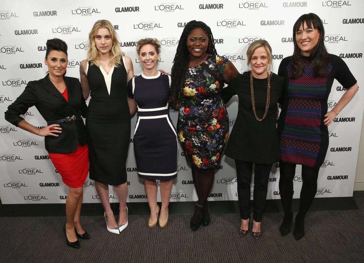 NEW YORK, NY - APRIL 17:  Chef, nutritionist, media personality Gina Keatley; Actress Greta Gerwig;  L'Oreal AVP PR Mora Neil