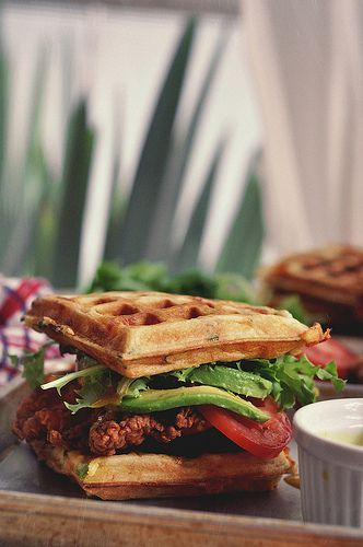 """<strong>Get the <a href=""""http://www.thecandidappetite.com/2013/07/08/fried-chicken-and-waffle-sandwiches/"""" target=""""_blank"""">Fr"""