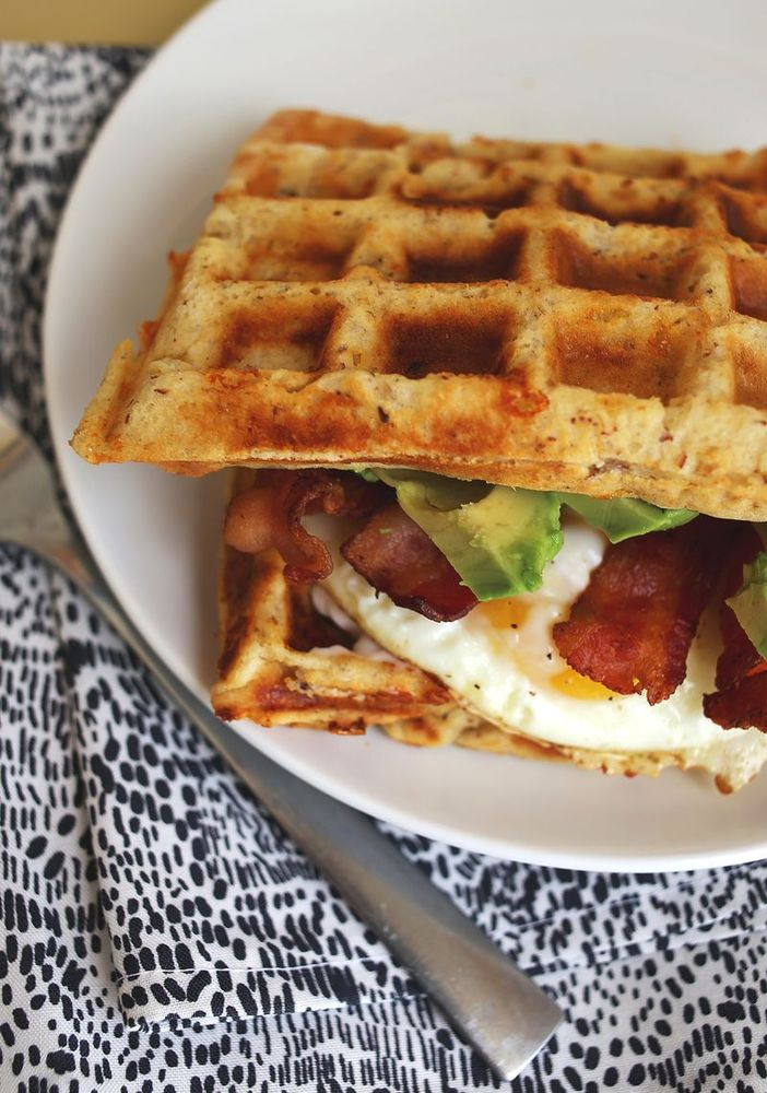 "<strong>Get the <a href=""http://www.abeautifulmess.com/2013/10/cheddar-waffle-breakfast-sandwich.html"" target=""_blank"">Chedda"