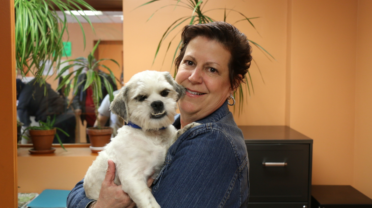 Cindy Nelson-Pouget meets Edgar, a 2-year-old Maltese mix puppy found in a trash can in Detroit in March of 2014. Two months