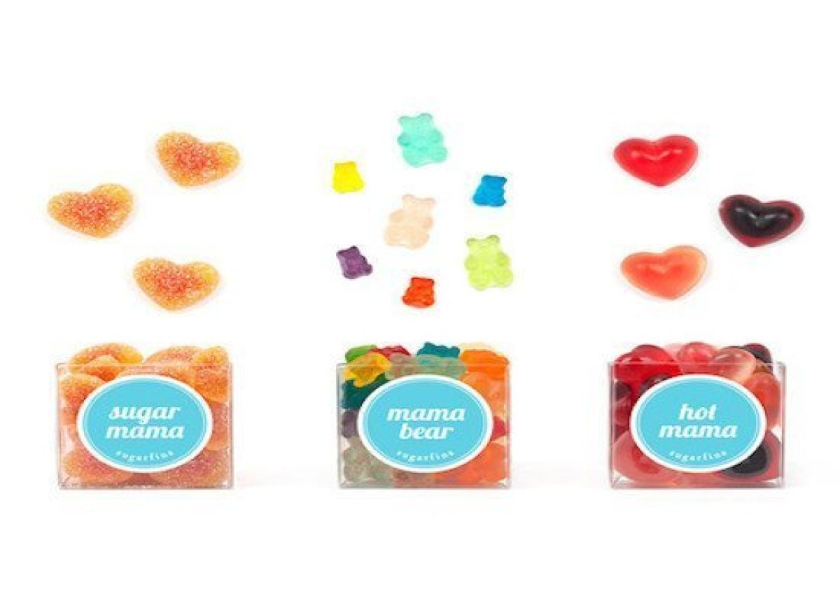 """Give mom a little sugar fix with these cheeky little candies. Including """"Sugar Mama"""" - Peach Sweethearts, """"Mama Bear"""" - Mama"""