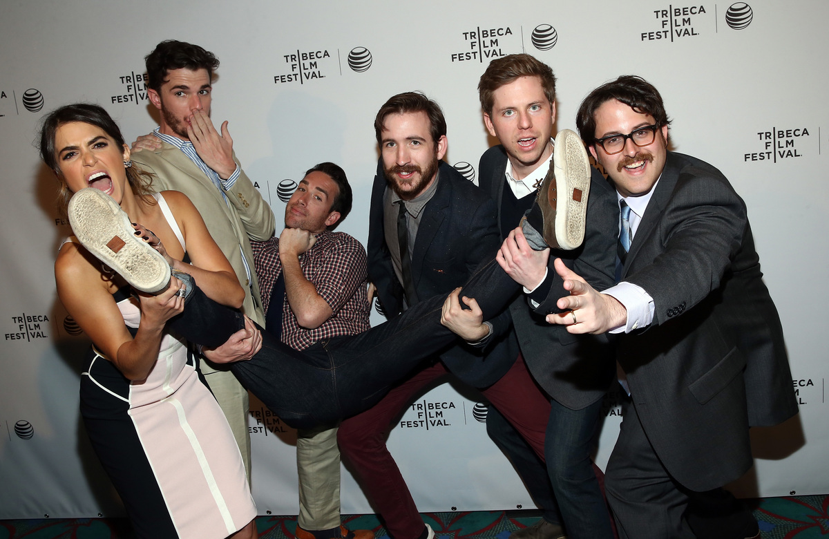 """Nikki Reed, Nick Kocher, Will Elliot, Brian McElhaney, Kirk C. Johnson and director Andrew Disney attend the """"Intramural"""" Pre"""