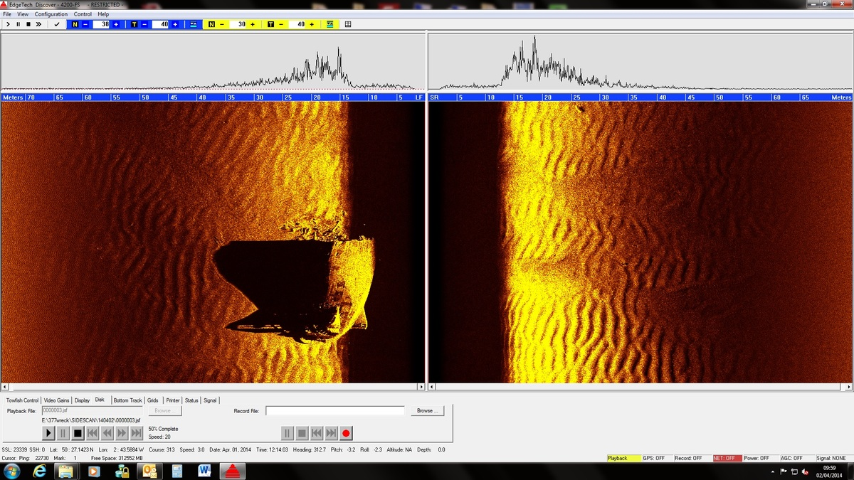 """Side scan sonar image of LST 531 taken from the REMUS 100. (<a href=""""http://www.km.kongsberg.com/hydroid"""" target=""""_blank"""">Hyd"""