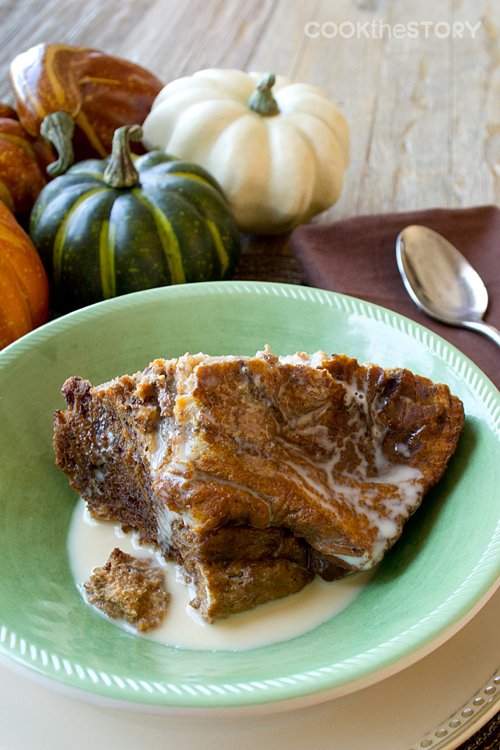 """<strong>Get the <a href=""""http://www.cookthestory.com/2013/10/14/slow-cooker-recipe-breakfast-pumpkin-bread-pudding/"""" target="""""""