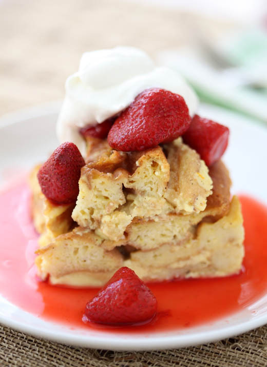 """<strong>Get the <a href=""""http://zoebakes.com/2011/03/21/waffle-bread-pudding-with-strawberry-sauce/"""" target=""""_blank"""">Warm Bre"""