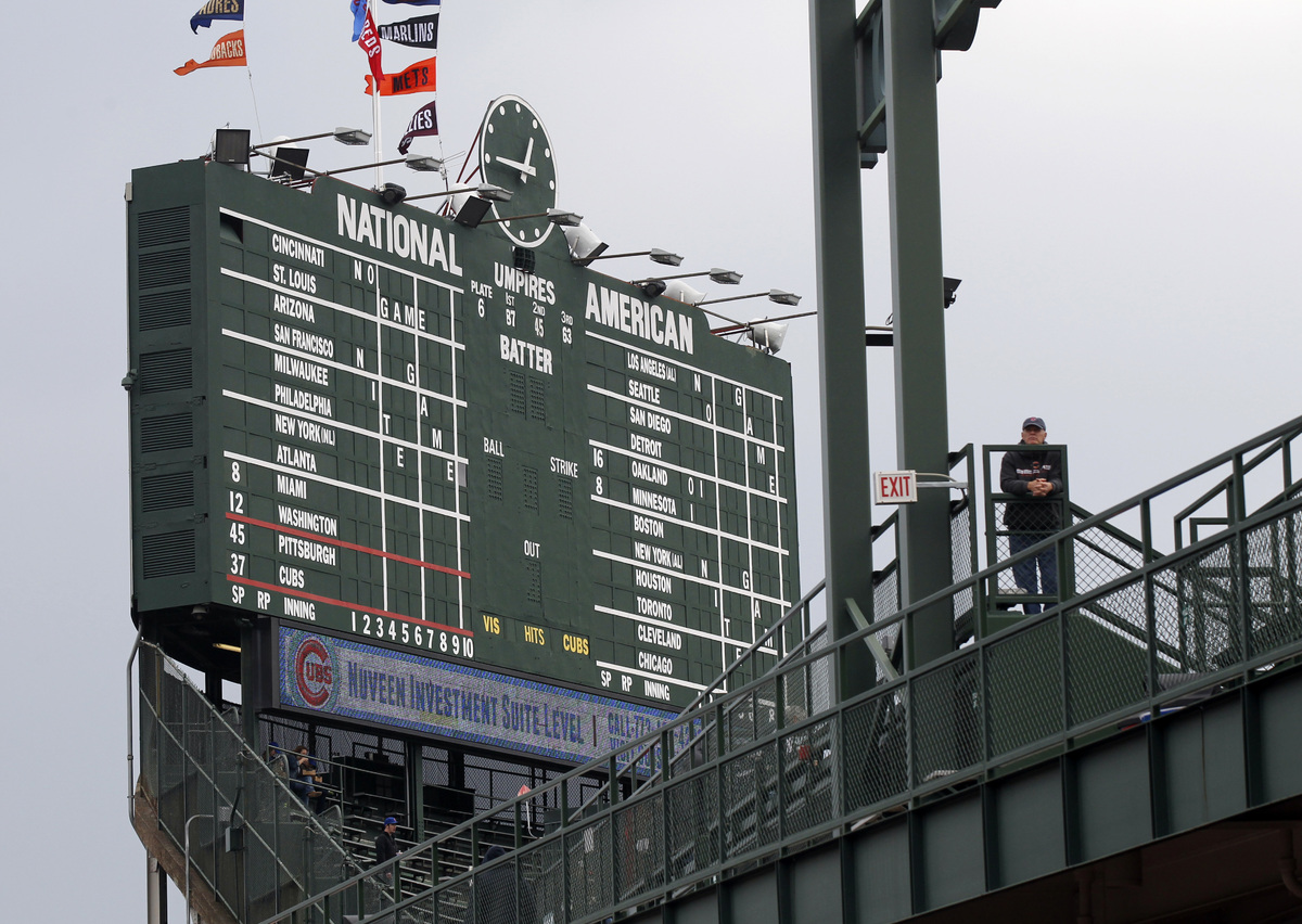 In this April 10, 2014 photo, Wrigley Field's iconic scoreboard is seen before a baseball game between Pittsburgh Pirates and