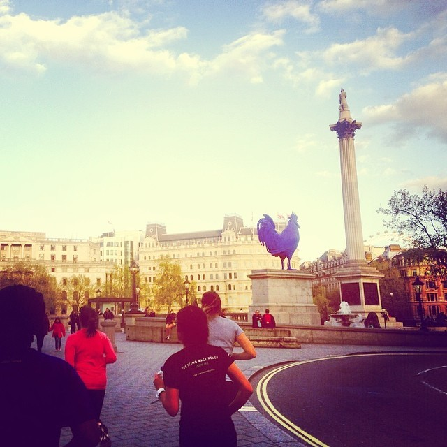 Running past the Trafalgar Square while training for Nike's 'We Own The Night' female-only 10km run  - Charlotte Meredith, ne