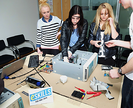 Thirty-seven girls participated in multiple events in Cisco's offices in Berlin, Germany. Here, the girls are learning about