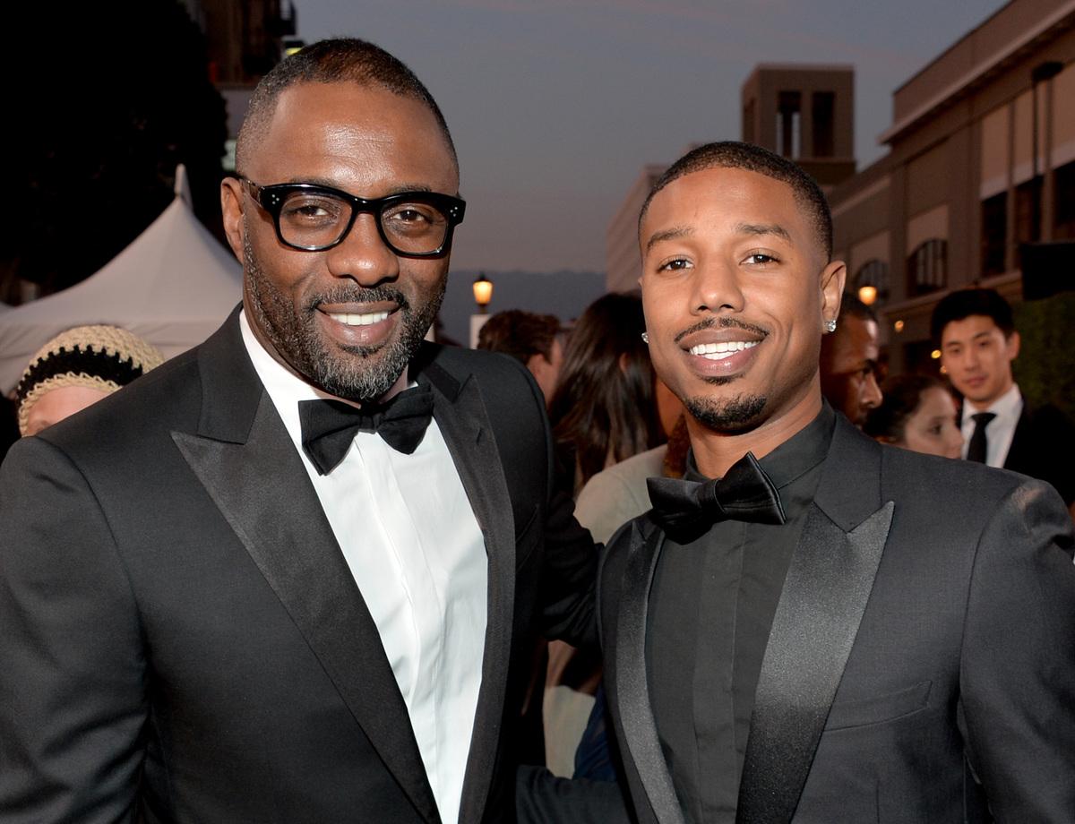 PASADENA, CA - FEBRUARY 22:  Actors Idris Elba (L) and Michael B. Jordan attend the 45th NAACP Image Awards presented by TV O