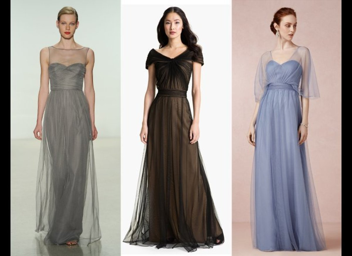 The hottest bridesmaid dress trends for fall 2014 huffpost sheer layers of fabric over the skirt give floor length bridesmaid dresses an ethereal vibe ombrellifo Choice Image