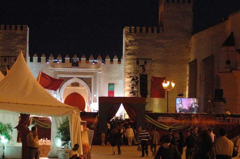 The opening and closing concerts and the big crowd events at the Fes Festival  are held in the Arabian Nights splendour of th