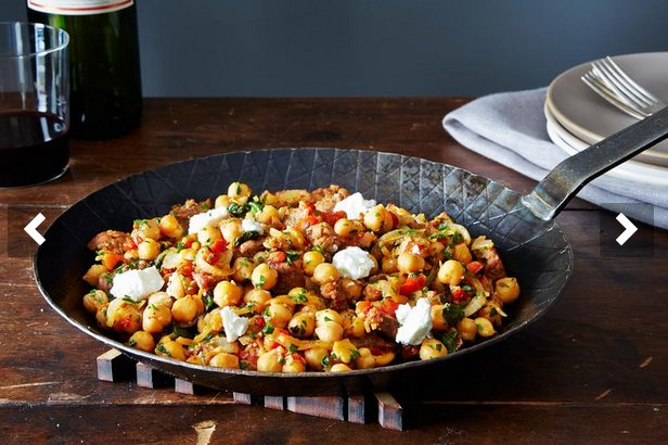 "<strong>Get the <a href=""http://food52.com/recipes/27537-a-warm-pan-of-chickpeas-chorizo-and-chevre"" target=""_blank"">Warm Pan"