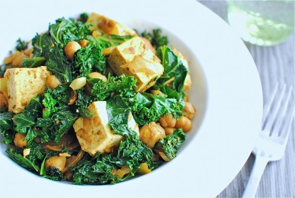 "<strong>Get the <a href=""http://bevcooks.com/2011/11/quick-curried-chickpeas-with-tofu-and-kale/"" target=""_blank"">Quick Curri"