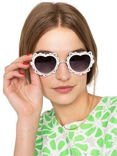"<a href=""http://www.pixiemarket.com/white-lace-heart-sunglasses.html"" target=""_blank"">Sweet Heart Sunglasses</a>, $18"