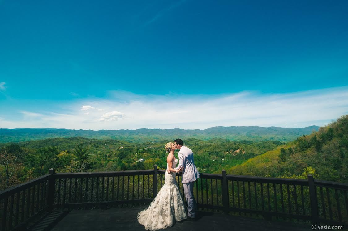 """""""Lindsay and Tyler look over the Smoky Mountains before their wedding yesterday at Hawkesdene House in Andrews, N.C."""""""