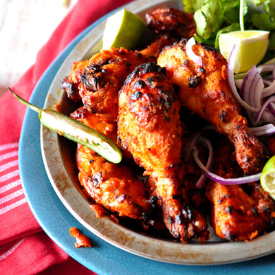 "<strong>Get the <a href=""http://www.simplyreem.com/from-my-kitchen/?p=885"">Tandoori Chicken</a> recipe from Simply Reem</stro"