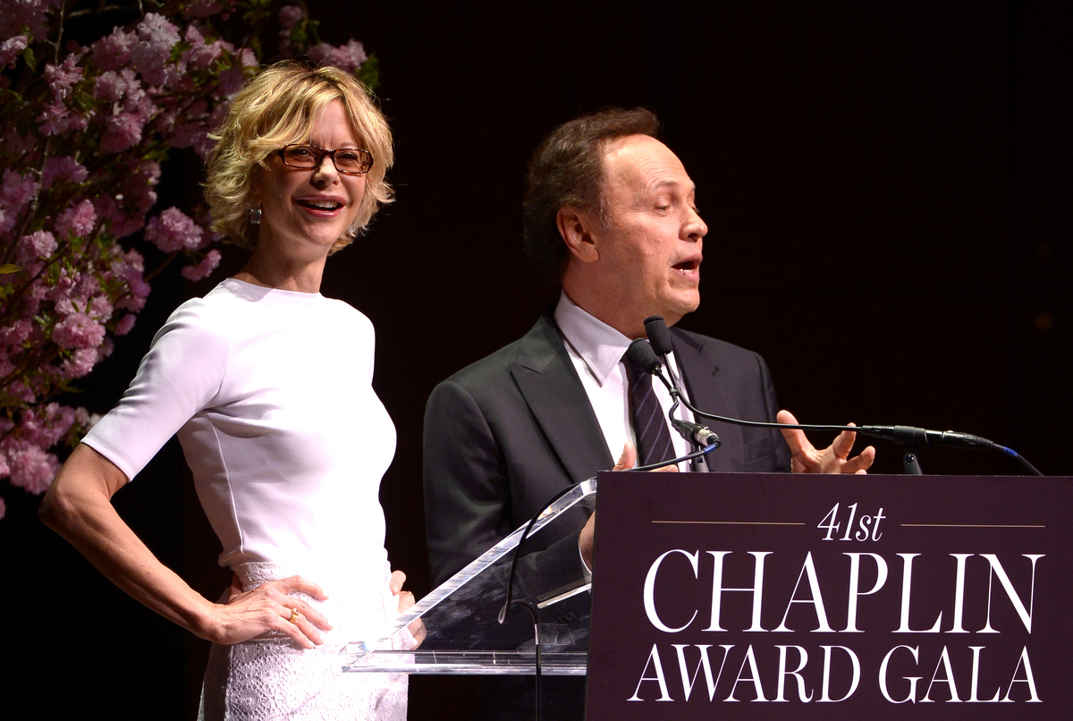 NEW YORK, NY - APRIL 28:  Meg Ryan (L) and Billy Crystal speak onstage at the 41st Annual Chaplin Award Gala at Avery Fisher