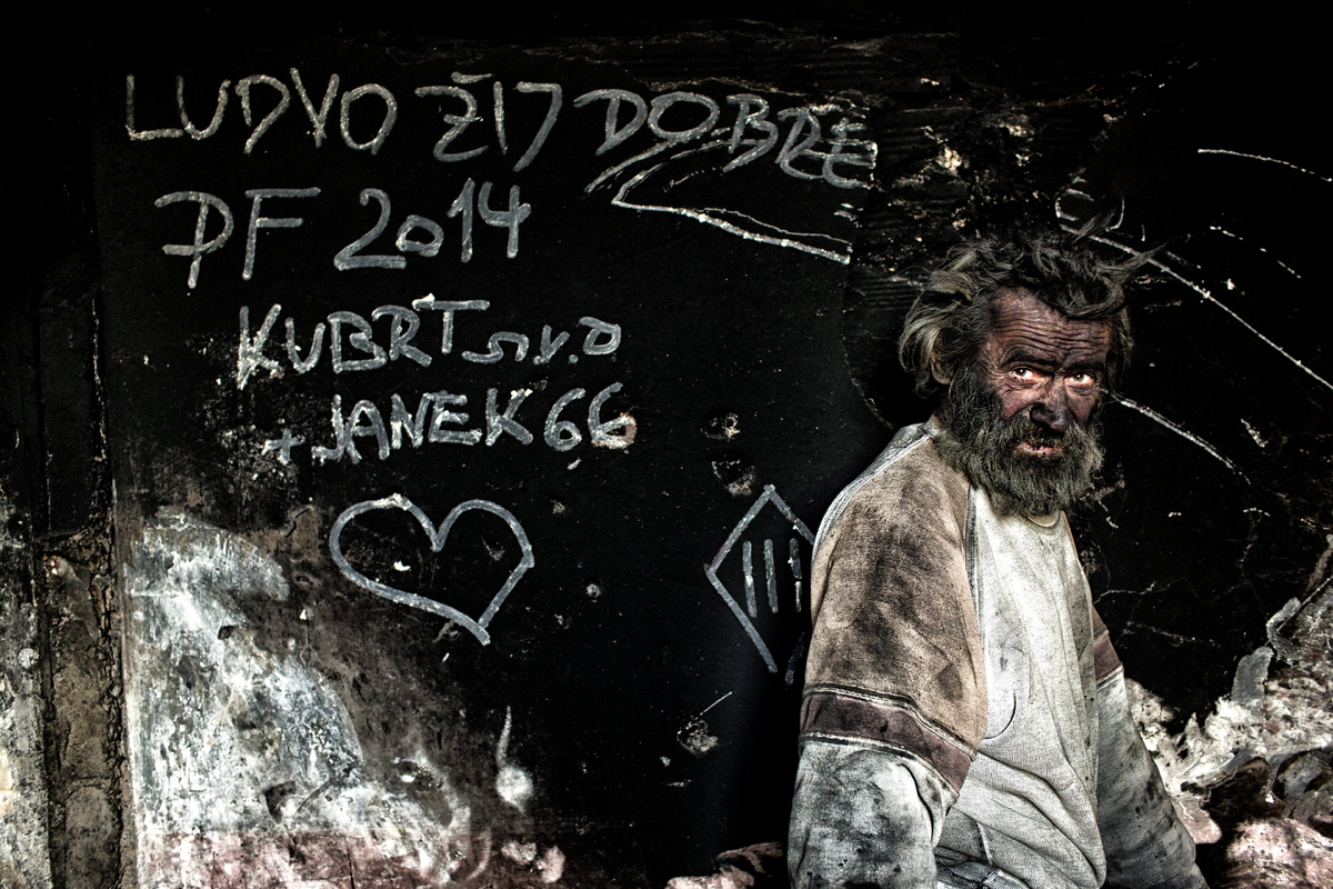 Europe's dirtiest man Ludvik Dolezal who lives in a hovel and spends his nights in buried in hot ash.