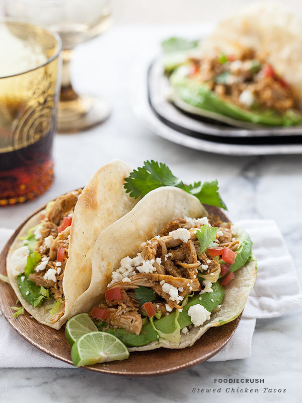 "<strong>Get the<a href=""http://www.foodiecrush.com/2013/04/stewed-chicken-tacos/"" target=""_blank""> Stewed Chicken Tacos</a> r"