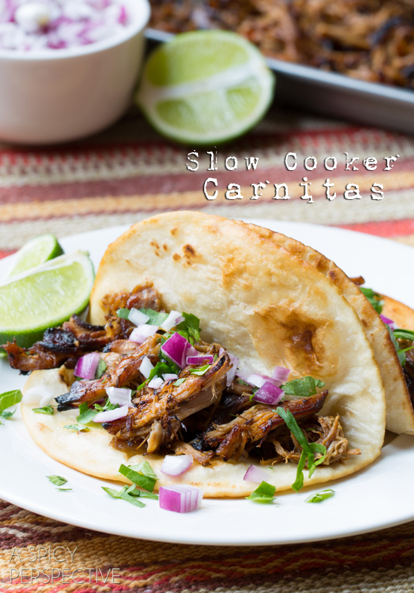 "<strong>Get the <a href=""http://www.aspicyperspective.com/2014/03/slow-cooker-carnitas.html"" target=""_blank"">Easy Slow Cooker"