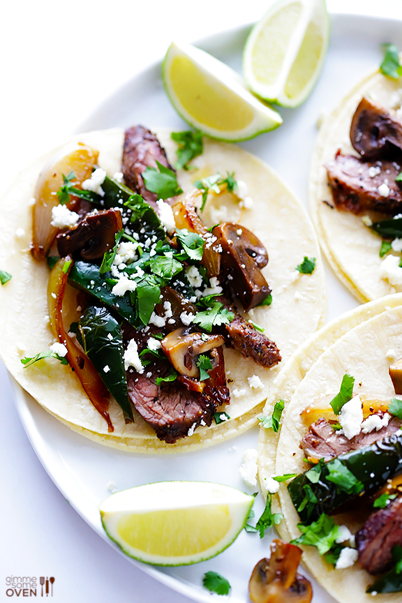 "<strong>Get the <a href=""http://www.gimmesomeoven.com/steak-poblano-and-mushroom-tacos-recipe/"" target=""_blank"">Steak, Poblan"