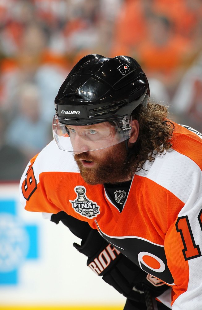 "Continuing the Flyers' domination of the playoff beard lineup, the steely-eyed Scott Hartnell of the <a href=""http://flyers.n"