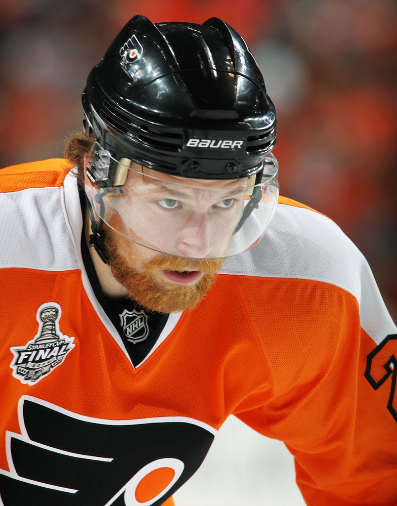 "This might as well be the same picture as the previous bearded Flyer, but Center Claude Giroux of the <a href=""http://flyers."
