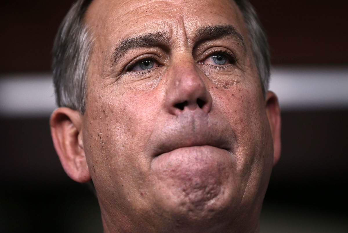 U.S. Speaker of the House Rep. John Boehner (R-OH) listens to questions during a news briefing February 14, 2013 on Capitol H