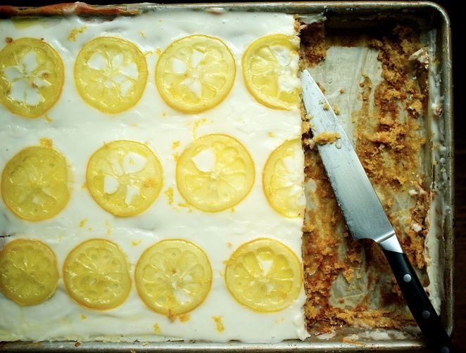"<strong>Get the <a href=""http://food52.com/recipes/23159-candied-lemon-sheet-cake"" target=""_blank"">Candied Lemon Sheet Cake r"