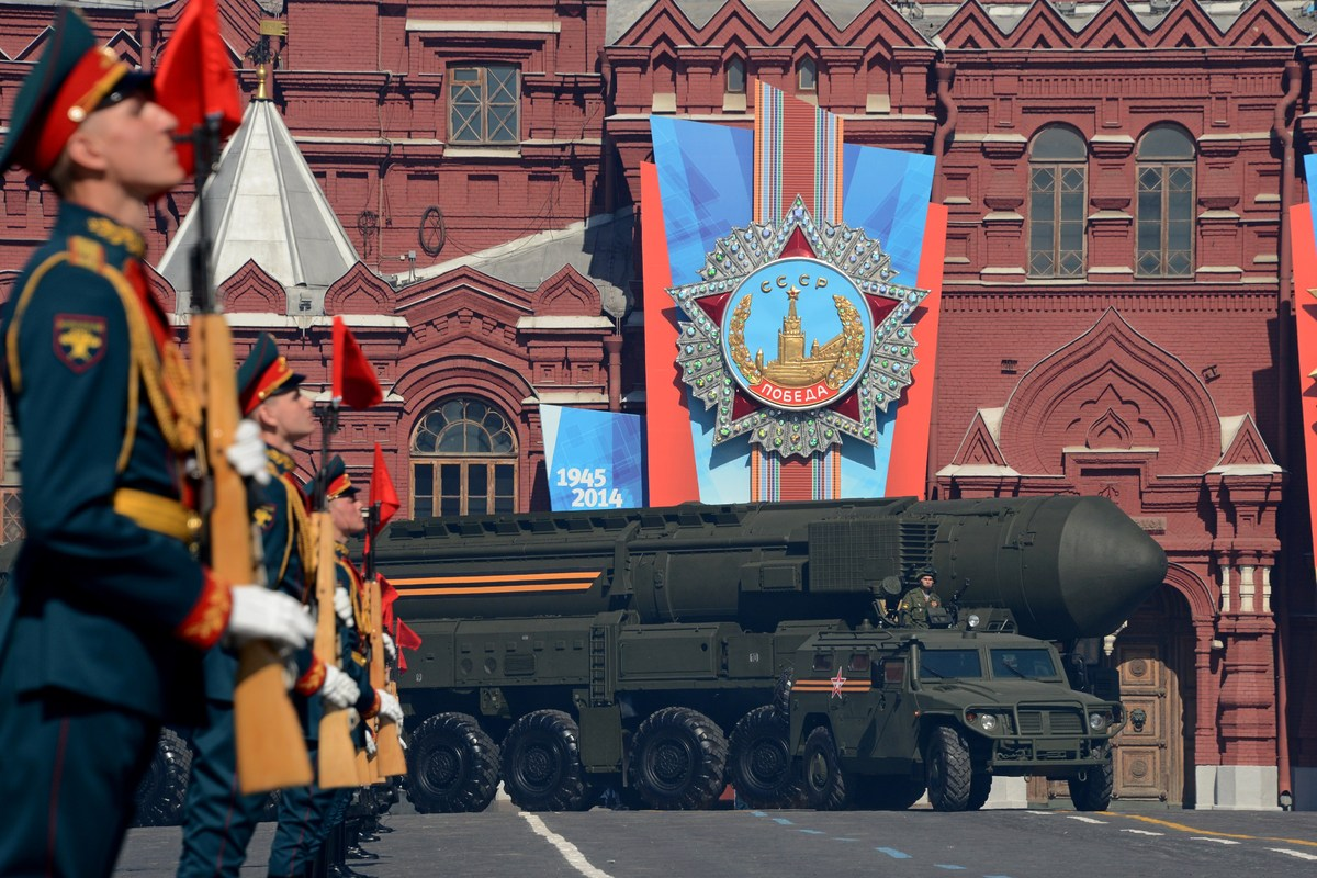 A Russian Topol-M intercontinental ballistic missile launcher drives through Moscow's Red Square during the Victory Day parad