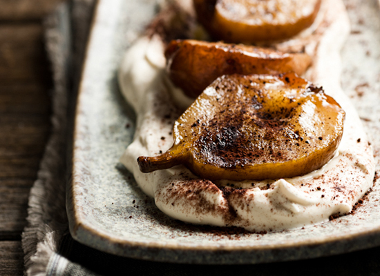 """<strong>Get the <a href=""""http://chimeraobscura.com/mi/thats-a-wrap/"""">Roasted Pears with Espresso Mascarpone Cream recipe</a>"""