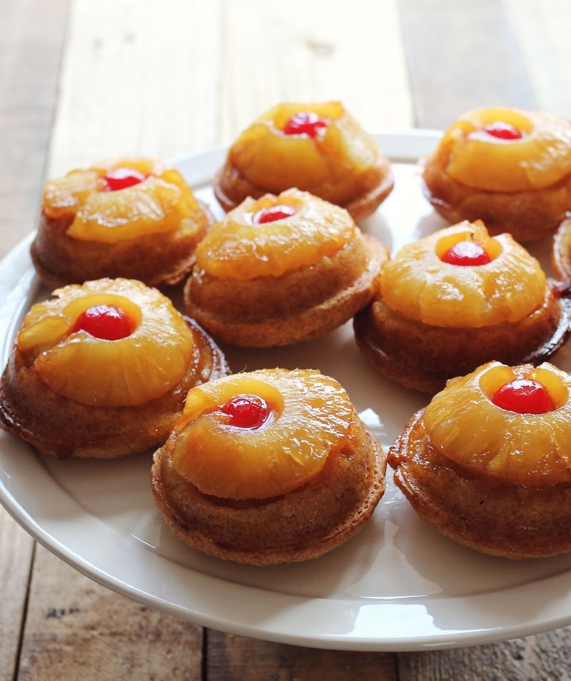 """<strong>Get the <a href=""""http://www.abeautifulmess.com/2013/03/mini-pineapple-upside-down-cakes.html"""" target=""""_blank"""">Mini Pi"""