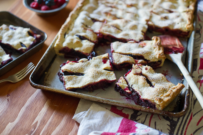 """<strong>Get the <a href=""""http://whiteonricecouple.com/recipes/berry-slab-pie/"""" target=""""_blank"""">Mixed Berry Slab Pie with Choc"""