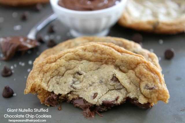 "<strong>Get the <a href=""http://www.twopeasandtheirpod.com/giant-nutella-stuffed-chocolate-chip-cookies/"" target=""_blank"">Gia"