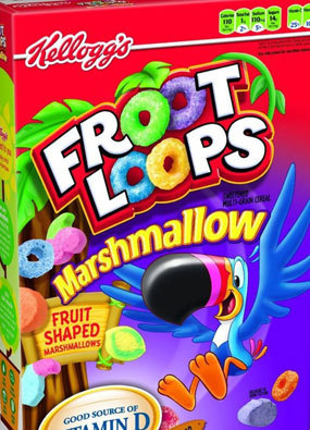 """With 14 grams of sugar per serving, Froot Loops with marshmallows are 48 percent sugar by weight, and an alleged """"good source"""