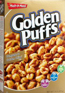 """There may very well be """"11 vitamins and minerals in Golden Puffs"""" but there are also 15 grams of sugar per serving, making a"""