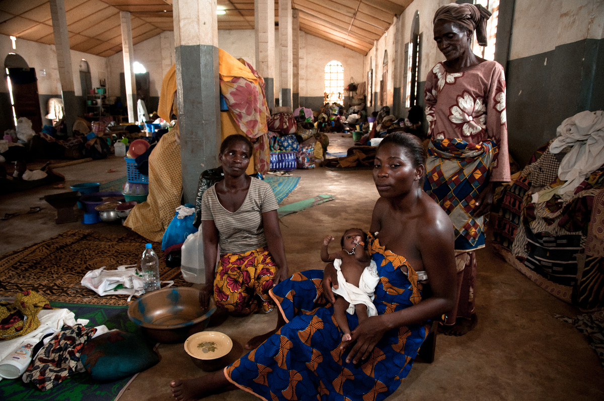 Four generations of woman from one family are currently living in a crowded church building in the displacement camp of Duéko