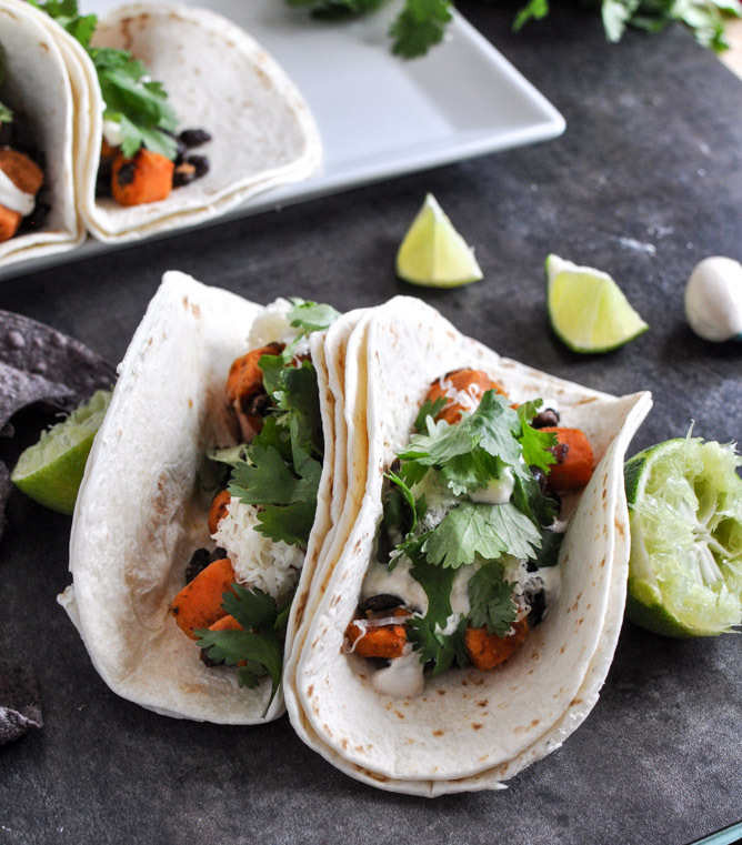 "<strong>Get the <a href=""http://www.howsweeteats.com/2012/12/embarrassingly-easy-smoky-sweet-potato-and-black-bean-tacos/"" ta"