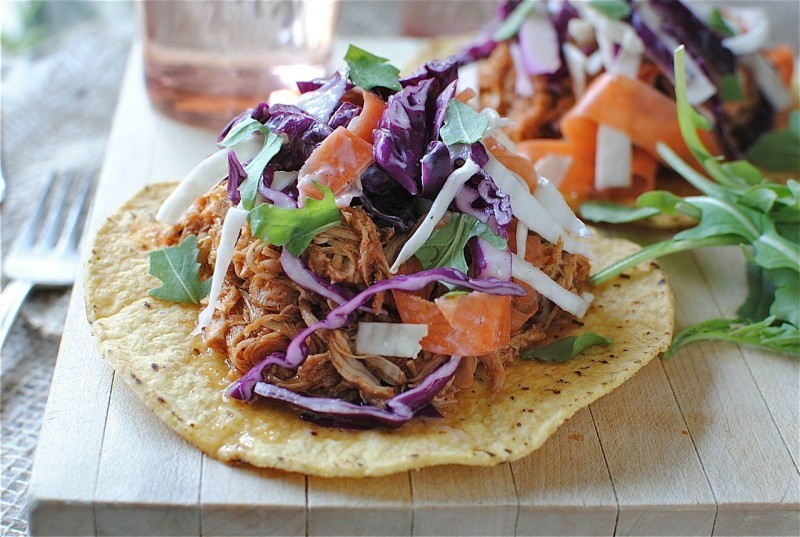 "<strong>Get the <a href=""http://bevcooks.com/2012/09/bbq-pulled-chicken-tostadas-with-cole-slaw/"" target=""_blank"">BBQ Pulled"