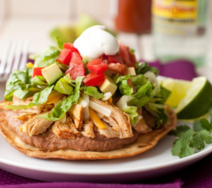 "<strong>Get the <a href=""http://www.cookingclassy.com/2013/02/chicken-tostadas-with-slow-cooker-chicken/"" target=""_blank"">Slo"