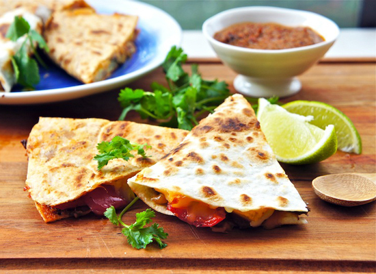 "<strong>Get the <a href=""http://www.seasaltwithfood.com/2011/12/roasted-vegetable-quesadillas.html"">Roasted Vegetable Quesadi"