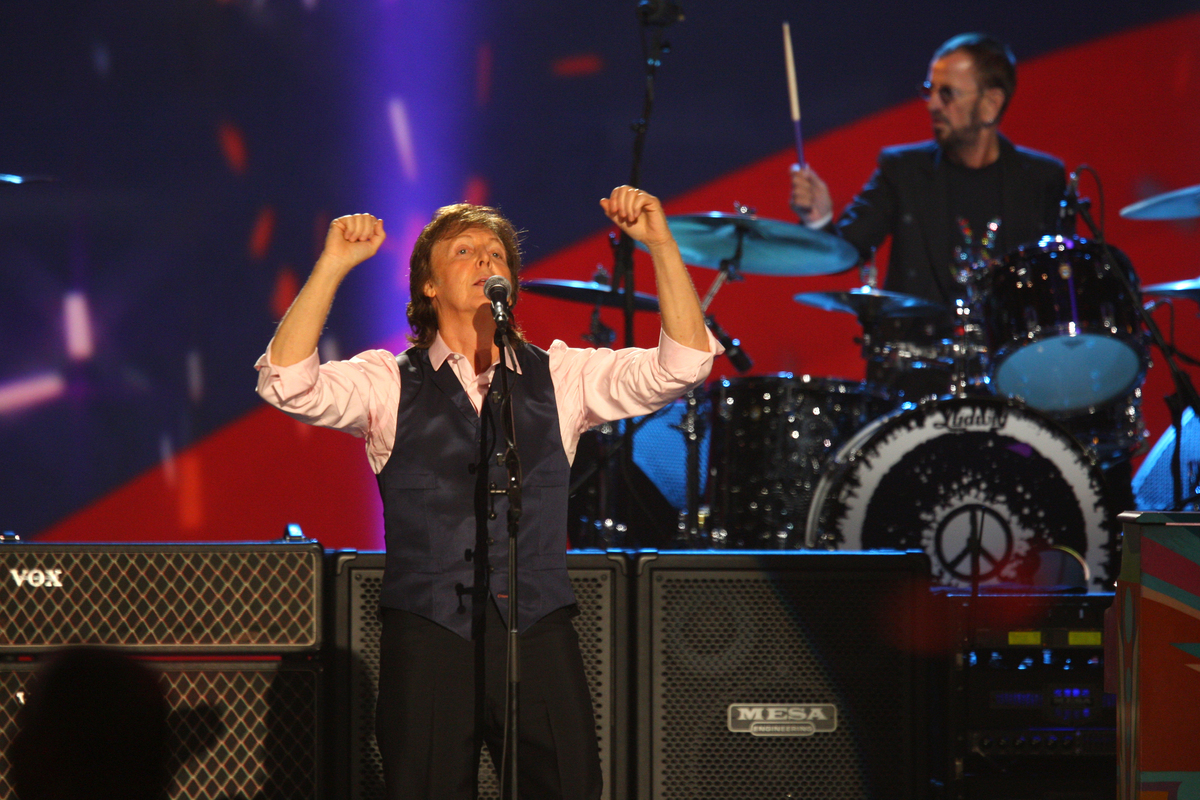 Paul McCartney and Ringo Starr perform at The Night that Changed America: A Grammy Salute to the Beatles, on Monday, Jan. 27,