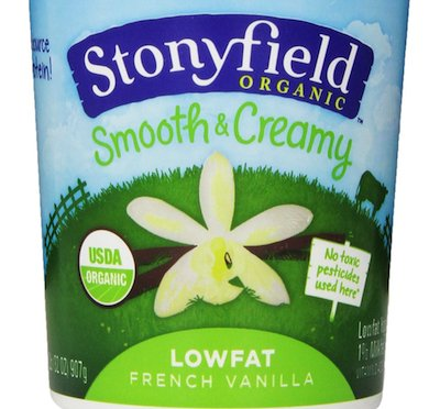 "This vanilla pick from Stonyfield clocks in at <a href=""http://www.stonyfield.com/products/yogurt/smooth-creamy/lowfat-french"