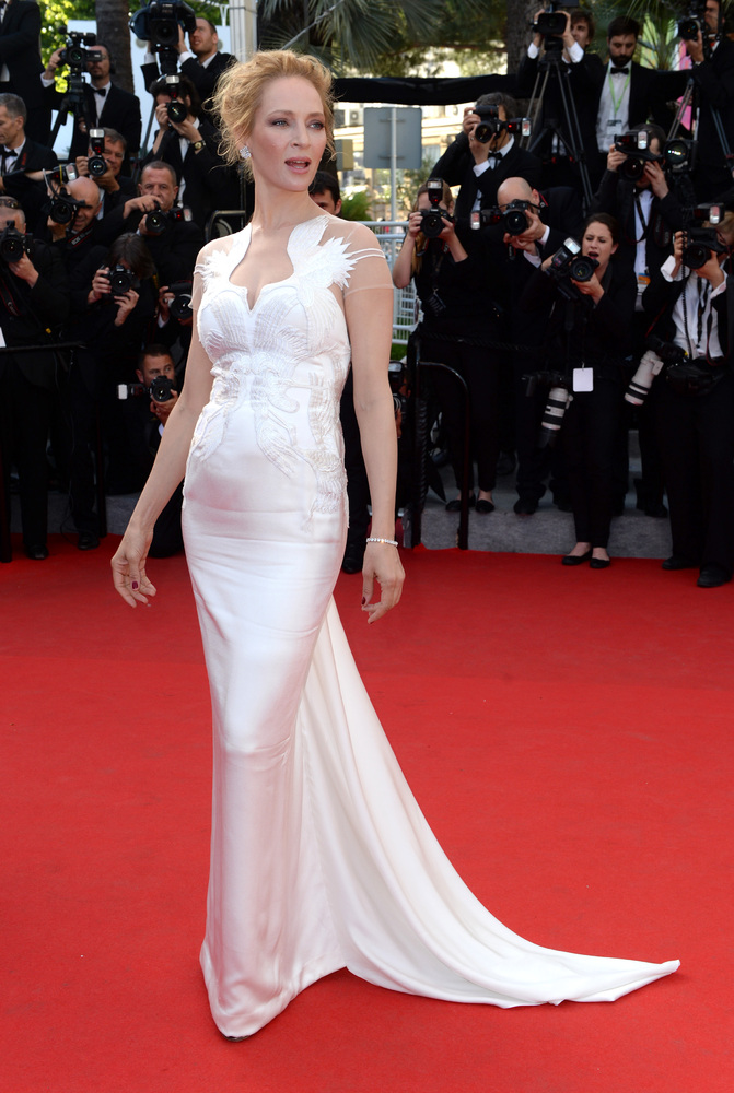 Uma Thurman arriving at the Palm D'Or Ceremony, the Palais du Festival, part of the 67th Festival de Cannes.
