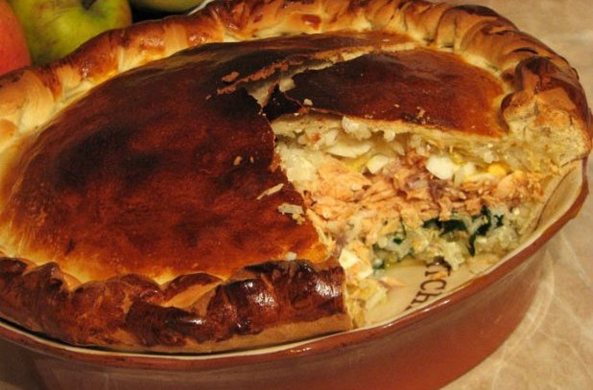 A coulibiac is a Russian dish consisting of a filled pie usually made with salmon, sturgeon, rice or buckwheat, onions, dill