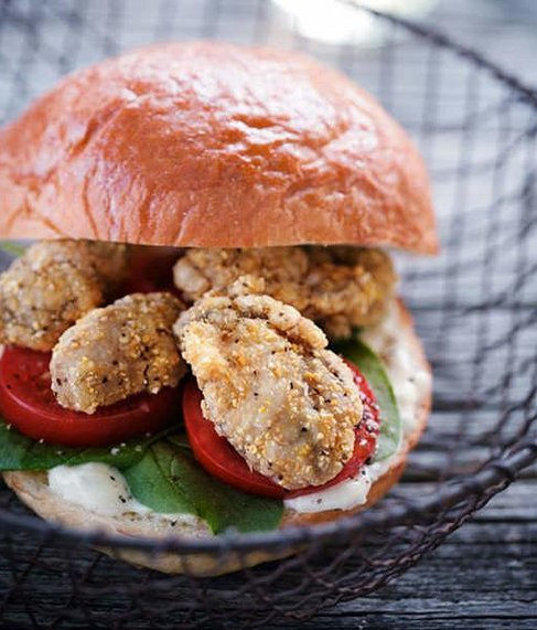 "<strong>Get the <a href=""http://www.sweetpaulmag.com/food/oyster-po-boy-sandwich"" target=""_blank"">Oyster Po'Boy recipe</a> fr"