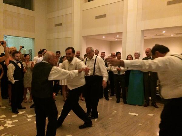 """My big fat Greek wedding in Tampa. 96-year-old Papou dances with his grandson, the groom."""
