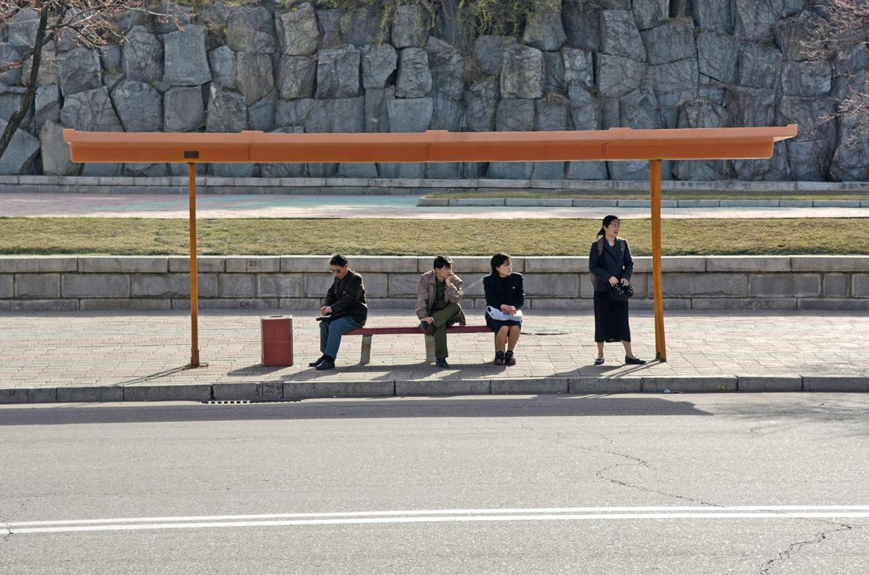 Bus stop in Pyongyang.